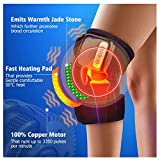 ErYao Electric Heated Massage Knee Brace Wrap for Men Women, Adjustable Heated and Massage Knee Heating Pad Thermal Heat Vibration Therapy Wrap for Arthritis Pain Relief Injury Recovery (Black)