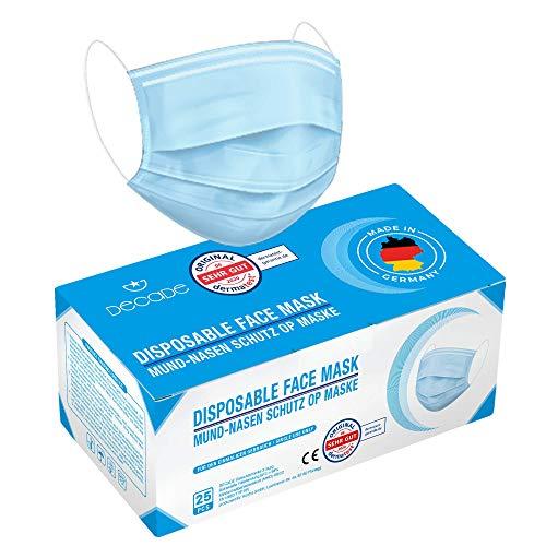 """DECADE Test: """"SEHR GUT"""" - 50x geprüfte Made IN Germany Einweg Atemmaske EN14683 TYP IIR mit 98% BFE - Gesichtsmaske - Einwegmaske Mundschutz Staubschutz Masken mit Ohrschlaufen"""