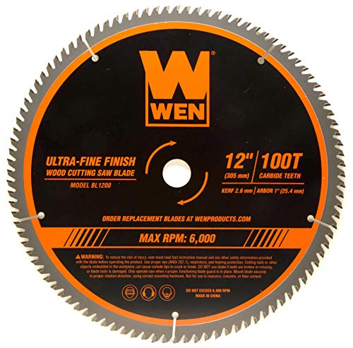 WEN BL1200 12-Inch 100-Tooth Carbide-Tipped Ultra-Fine Finish Professional Woodworking Saw Blade for Miter Saws and Table Saws