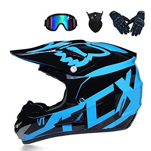 Betrothales motocross-helm und schutzbrille (5 stück) - schwarz und blau - erwachsener offroad-helm integral-mtb-helm motorrad-crosshelm für jugendliche männer frauen kinder (Color : A-XL)