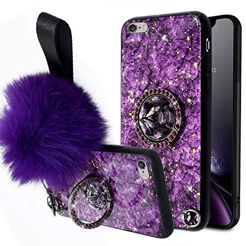 Uposao Compatibel con Funda iPhone 7 Plus/8 Plus Purpurina Carcasa con Anillo Soporte + Cuerda,Brillo Brillante Glitter Diamante Funda Silicona Suave TPU Resistente Carcasa Estuche Protector,Púrpura