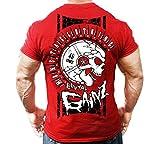 Monsta Clothing Co. Men's Bodybuilding Workout (Brutal Gainz) Gym T-Shirt (G:RD) Red