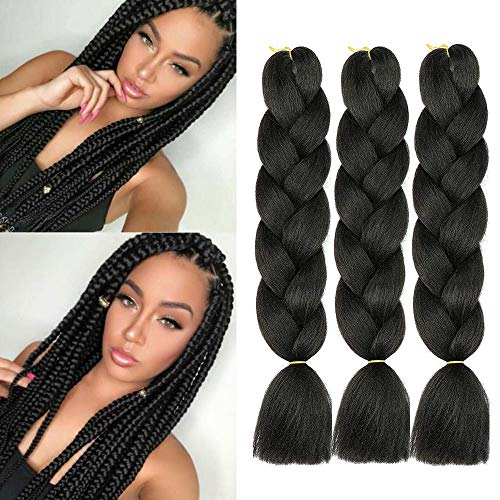 Jumbo Kanekalon Braiding Hair Extensions Pure Black Color 24 Inches 100g/pc Kanekalon Fiber for Twist Braiding Hair 3 Packs