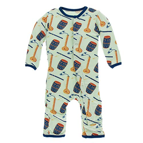 Kickee Pants Little Boys Print Coverall with Snaps - Pistachio Indian Instruments, 0-3 Months