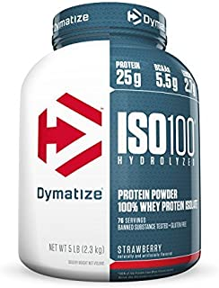 Dymatize ISO 100 Post Workout and Recovery Supplements, Strawberry, 5 lbs
