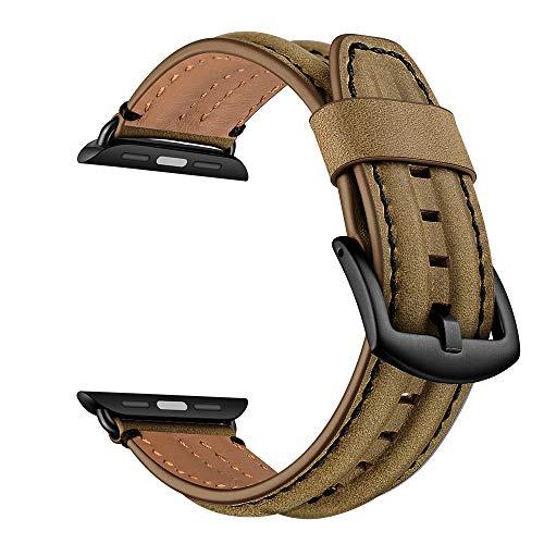 YoChYi Compatible con Apple Watch Series 6 SE 5 4 3 2 1 38mm 40mm 42mm 44mm Correa, Banda de Repuesto de piel Clásica de Doble Quilla (CH Brown, 3840mm)