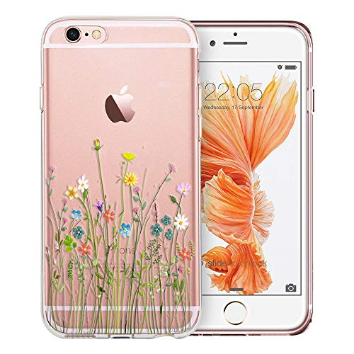 Unov Case Compatible with iPhone 6s Plus iPhone 6 Plus Case Clear with Design Soft TPU Bumper Shock Absorption Slim Embossed Pattern Protective 5.5 inch (Flower Bouquet)