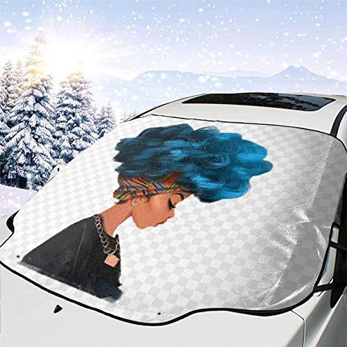 GOSMAO Protector de ParabrisasMujer Americana Cubierta de Parabrisas Coche Protege de Rayos Antihielo y Nieve,UV,Lluvia,Funda Plegable Delantero 147 * 118cm