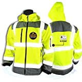 KwikSafety (Charlotte, NC) GALAXY Class 3 SoftShell Safety Jacket | ANSI Water Resistant Lightweight Reflective Hi Vis PPE Detachable Hood| Wind Rain Construction, Men Women Yellow | X-Large