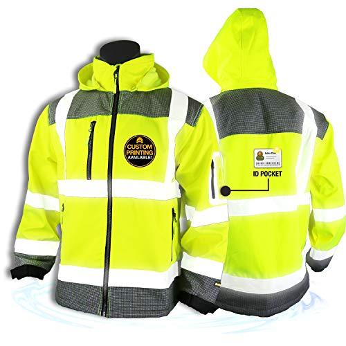 KwikSafety (Charlotte, NC) GALAXY Class 3 SoftShell Safety Jacket | ANSI Water Resistant Lightweight Reflective Hi Vis PPE Detachable Hood | Wind Rain Construction, Men Women Yellow | Medium