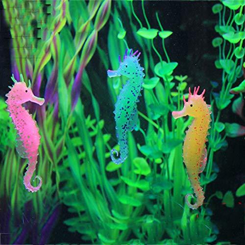 Galapara 3 Stück Schimmerndes Seepferdchen, Aquarium-Deko, Glühende Künstliche Seepferdchen für Aquarium Dekoration,Unterwasserlandschaft, Leuchteffekt, Seepferdchen