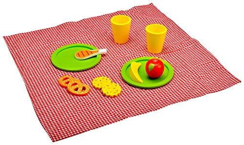 Idena 4100107 - Kleine Küchenmeister Picknick - Set aus Holz inklusive Picknickdecke, 12 teilig, circa 34 x 34 x 7 cm