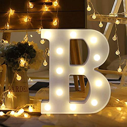 XHDH LED-Alphabet-Buchstaben-Beleuchtung beleuchtet warme weiße Nachtlicht-Kunststoff-Buchstaben-Zahlen, die für Home Party Bar Hochzeitsfest-Geburtstagsdekorationen Stehen,B