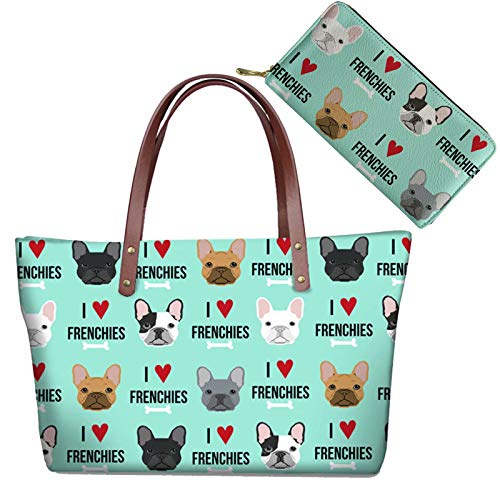 AFPANQZ French Bulldog Dogs Lovers Shoulder Bag + Long Purse 2 Piece Set Women's Satchel Handbags Tote with Inner Pockets Top Handle Waterproof Wallet Phone Coins Holder PU Leather Shoulder Bags