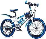 HongLianRiven BMX VTT avec Fourche à Suspension Damping, Cadre de Poche et Porte-Bouteille 6 Frein for Enfants Bike Gear Étrier de Frein arrière V Frein 7-2 (Color : White/Blue, Size : 22Inch)