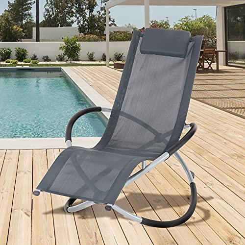 ECD Germany Tumbona Mecedora Plegable Antracita con Cojín Reposacabezas Sillón Ergonómico Resistente a los Rayos UV y a la Intemperie Robusto para Relax Interior Exterior en Jardín Terraza Playa