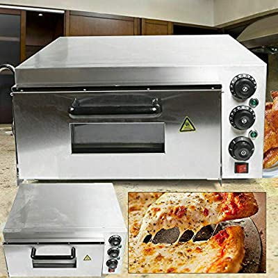 Electric Pizza Oven 2KW/3KW 1/2 Deck Pizza Oven w/Dedicated Pizza Drawer Stainless Steel,Electric Pizza Oven Single/Double Deck Fire Stone Stainless Steel Ceramic Stone (Single)