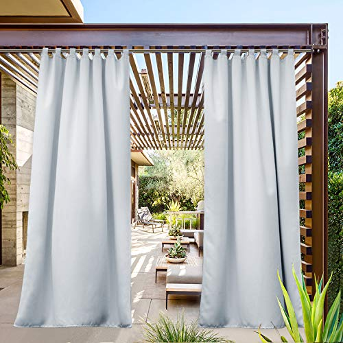 NICETOWN Outdoor Curtain Waterproof Patio Drape, Thermal Insulated Top Tab Sunlight Reducing Balance Summer Heat Winter Cool Temperature for Gazebo / Cabana (1 Panel, W52 x L95, Greyish White)
