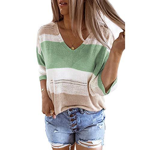 Avsvcb Nuevo suéter de Punto de Playa de Verano Top Rayas Europeas y Americanas Color a Juego suéter Hueco Mujeres