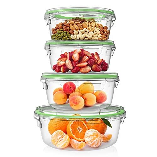 Home Fleek - Set de 4 Envases de Vidrio Circular para Alimentos | Recipientes Herméticos de Cristal Para La Cocina | Apto para Lavavajilla, Horno, Microondas, Congelador | Sin BPA (Verde, Set de 4)