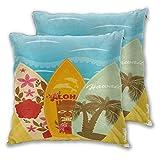 lisniany federe 2 pack,surf hawaiani della spiaggia su stile esotico dell'annata di sport di vacanze estive della sabbia,cuscini per divani decorativo cuscino copricuscini divano caso