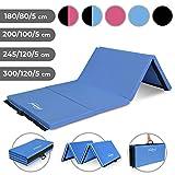 Physionics Tapis de Fitness et Yoga - 180 x 80cm, Antidérapant, Pliable, Extra Épais 5cm, Bleu - Tapis de Sol, Gym, Pilates, Sport, Musculation