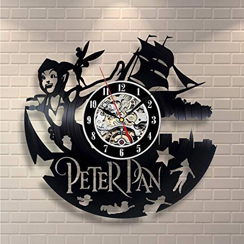 xcvbxcvb Reloj de Pared con Disco de Vinilo de película de Peter Pan duvar saati wandklok Decora tu casa con Reloj de Pared Grande de Arte Moderno y Grande