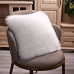 Faux Fur White Accent Pillow Cover