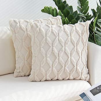 JOJUSIS Plush Short Wool Velvet Decorative Throw Pillow Covers Luxury Style Cushion Case Faux Fur Pillowcases for Sofa Bedroom Pack of 2 18 x 18 Inch Beige