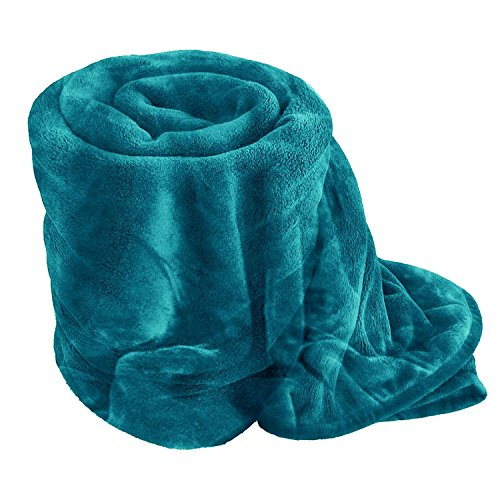 Dulce Lino Soft and Luxury Faux Fake Fur Mink Throw Sofa Bed Blanket available in Single Double and King -(King 250 x 200CM Teal)