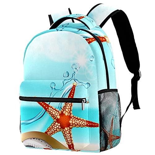 KeepCart Mochila Portátiles Mochila escolar Senderismo Aprender Alta capacidad y al aire libre Starfish Seashell Beach Sunshine para estudiantes hombres y mujeres