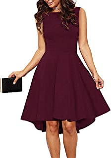 10fcfe801ebcc4 ReoRia Women Sleeveless Boat Neck High Low Cocktail Skater Swing Dress