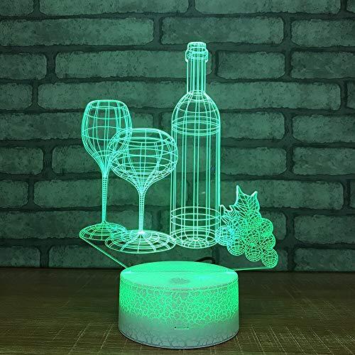 Lámpara de copa de vino tinto y lámparas de colores junto a la cama Lámpara de mesa pequeña LED 3D Interfaz USB Lámpara de control remoto táctil Luz de noche colorida