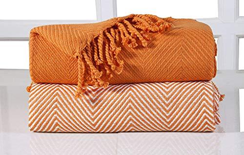 EHC 2 Mantas de Lujo de chevrón para sofá, Naranja, 125x 150cm