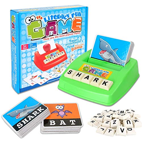 VIDOO Kids Letters Alphabet Game English Learning Cards Toys Children's Figure Spelling Game Platter Puzzle Spell Words Early Learning Toys