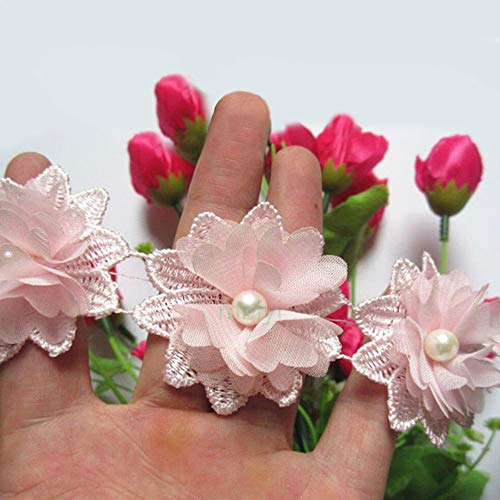 1 Yard 3D Flower Pearl Lace Edge Trim Ribbon 5 cm Width Vintage Style Pink Edging Trimmings Fabric Embroidered Applique Sewing Craft Wedding Dress Embellishment DIY Party Decor Clothes Embroidery