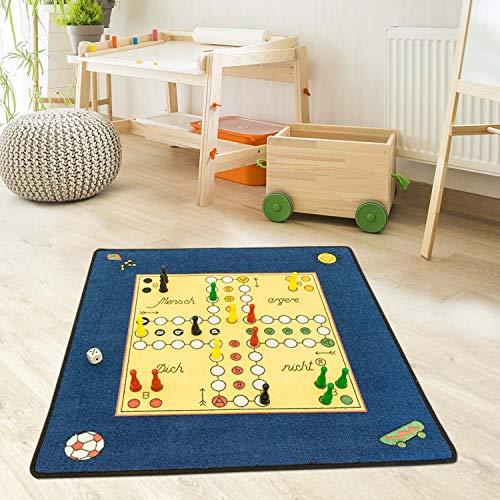 carpet city Kinder-Teppich Spielteppich Flachflor von Schmidt Mensch Ärgere Dich Nicht Blau in Größe 92x92cm