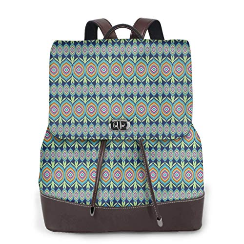 Women's Leather Backpack,Abstract African Shapes with Colorful Lines and Green Leaf Motifs On Blue Background,School Travel Girls Ladies Rucksack