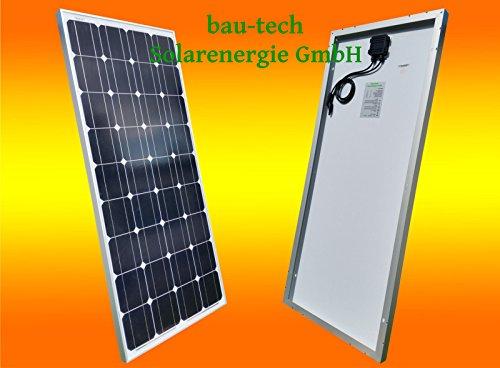 bau-tech Solarenergie 1 Stück 100W Monokristallines Solarpanel 12V Solarmodul Solarzelle 100Watt für Camping, Caravan, Garten GmbH