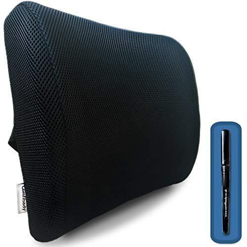 Memory Foam Lumbar Support Pillow/Cushion & Free Pen - Pain easing & posture correcting back support for use with all chairs including office chair, computer chair & back cushion for your car