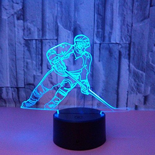 3D Led Lampe Hockey Spieler Nachtlicht, Visualisierung Amazing Touch Control Light 7 Farben Ändern Schreibtischlampen Für Kinderzimmer Decoration,Bestes Geburtstag Geschenke