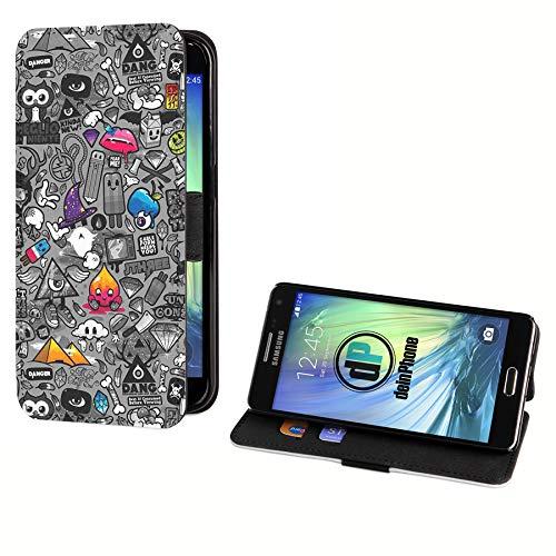 deinPhone Samsung Galaxy J5 (2017) Kunstleder Flip Case Comic Muster Grau