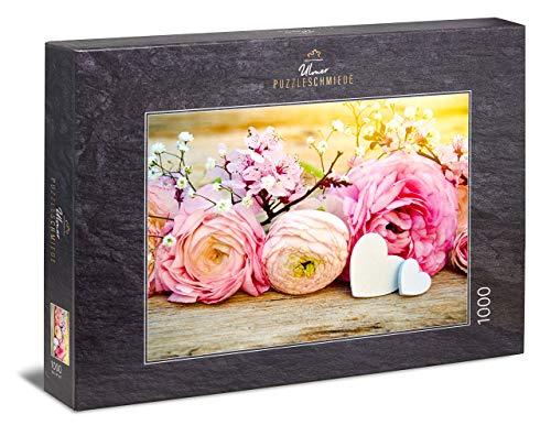 """Ulmer Puzzleschmiede - Puzzle """"Frühlingsgrüße"""" – Klassisches 1000 Teile Puzzle – liebliches Vintage-Puzzlemotiv Rosen und Kirschblüten als romantischer Blumen-Gruß"""