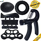ProHand Premium Quality Hand Grip Strengthener Exercise Set (5-in-1 pack) - Adjustable Resistance