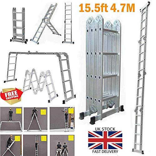4.7M extensión plegable Escalera 14 en 1 Multi-Posición de aluminio resistente Escalera antideslizante multiuso for la cubierta exterior del constructor de bricolaje Pintura 150KG máximo de carga dljy