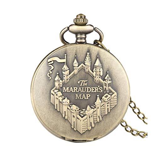 XXCHUIJU Mapa de Cobre Bolsillo Reloj Reloj Vintage Collar Colgante Reloj Mujer Hombres Cadena de Souvenir Regalos