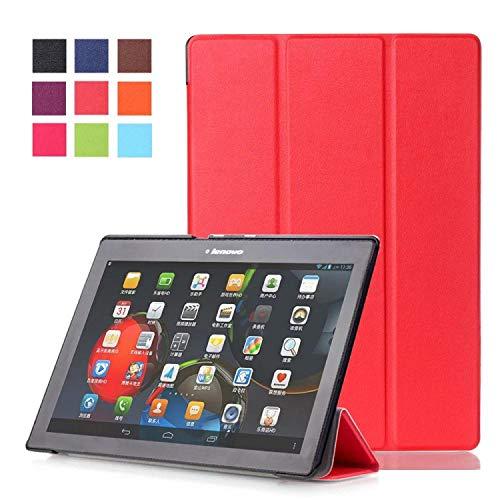 Hannuo para Lenovo TB2-X30F Tab2 A10-30 X30F 10.1 Tablet PU Funda Protectora de Cuero de Moda Funda Funda de Piel Trasera-Rojo