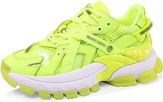 Zapatos de Bicicleta Deportivas Plataforma Verde Fluorescente, Zapatos para Correr De Moda, Calzado Deportivo Casual, Calz...