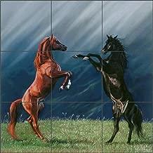 Kitchen Tile Backsplash - The Pledge by Kim McElroy Horse Art Ceramic Shower Mural (12.75