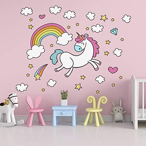 Easy Vinil Pegatina Decorativa Calcomania para Pared Decoracion de dormitorios Stickers Estampa Niña Bebés Infantil Unicornio